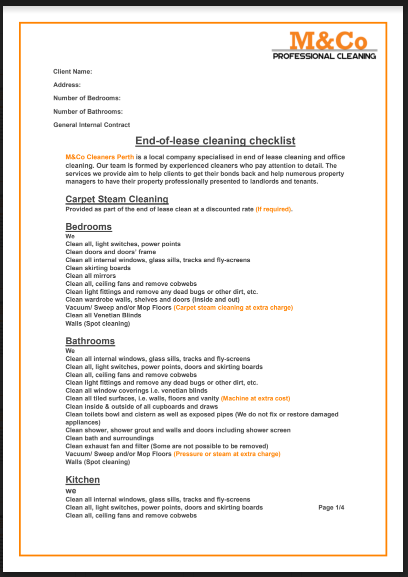 cleaning checklist mco